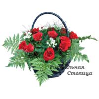 траурная корзина из живых цветов №1