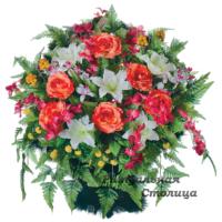корзина из искусственных цветов 05