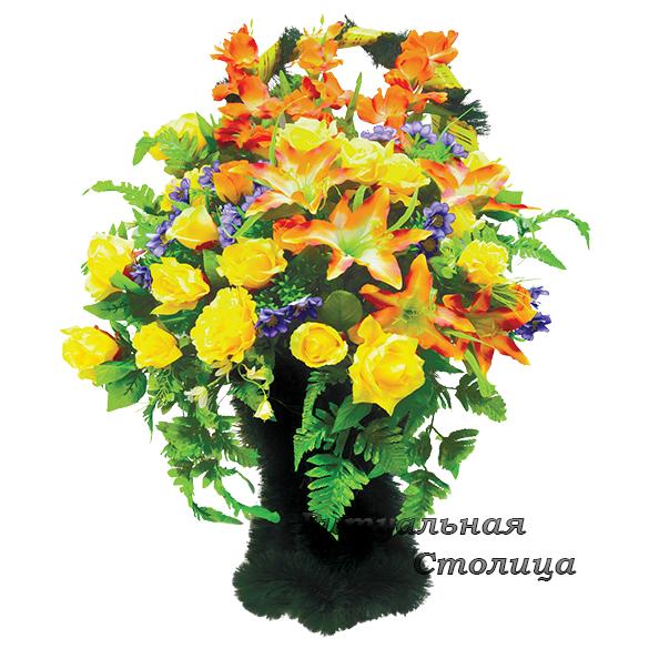 корзина из искусственных цветов 08