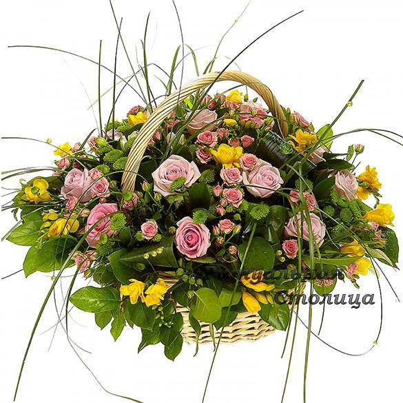 ритуальная корзина из живых цветов №9
