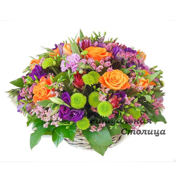ритуальная корзина из живых цветов №10