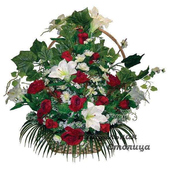 корзина из искусственных цветов 12