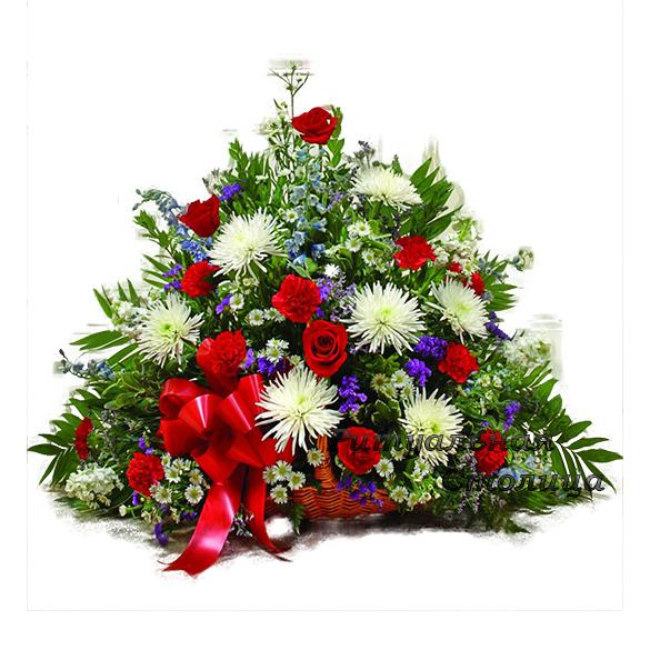 ритуальная корзина из живых цветов №13